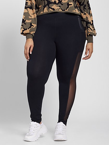 Plus Size Black Leggings with Foil Detail - Fashion To Figure