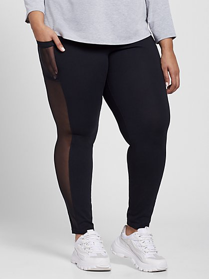 Plus Size Black Leggings with Mesh Detail - Fashion To Figure