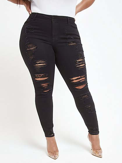 Plus Size Black Mid-Rise All Over Destructed Skinny Jeans - Fashion To Figure