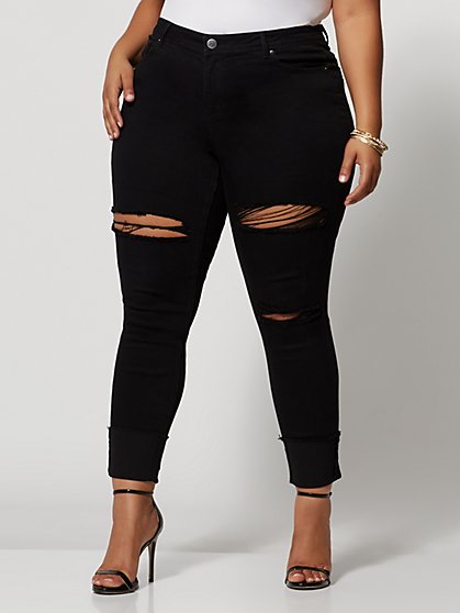 Plus Size Black Mid-Rise Cuffed Destructed Jeans - Fashion To Figure