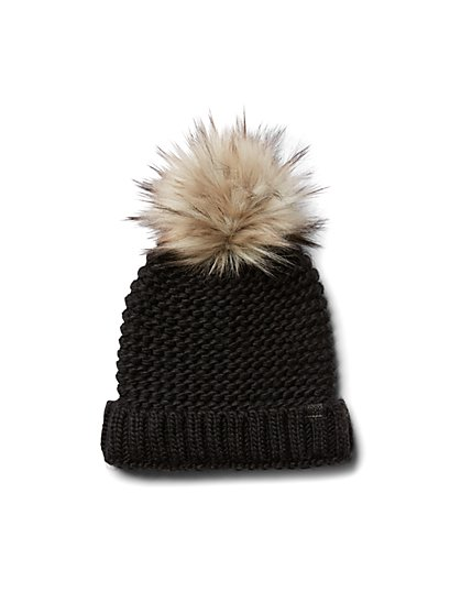 Plus Size Black Pom Pom Beanie - Fashion To Figure