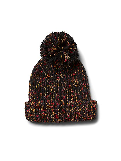 Plus Size Black Pom Pom Confetti Beanie - Fashion To Figure