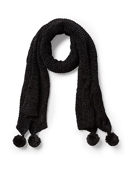 Plus Size Black Pom Pom Scarf - Fashion To Figure