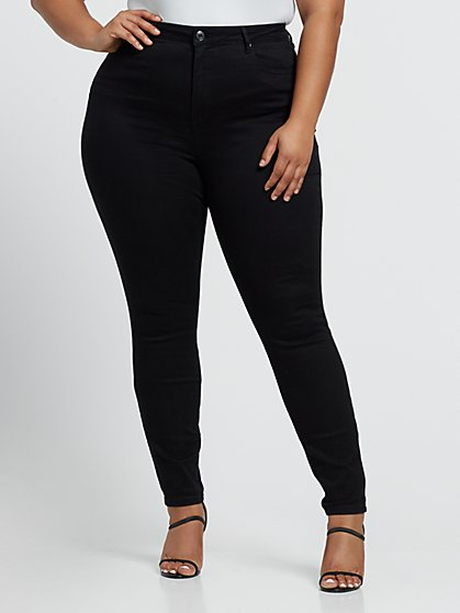 Plus Size Black Premium Sky High-Rise Skinny Jeans - Fashion To Figure