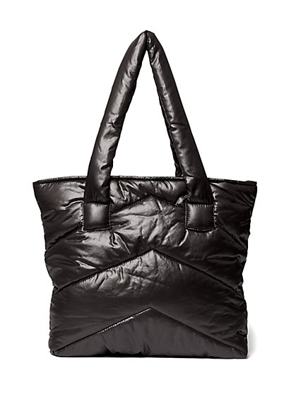 Plus Size Black Quilted Puffer Tote Bag - Fashion To Figure