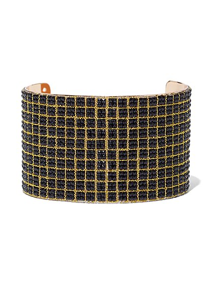 Plus Size Black Rhinestone Cuff Bracelet - Fashion To Figure