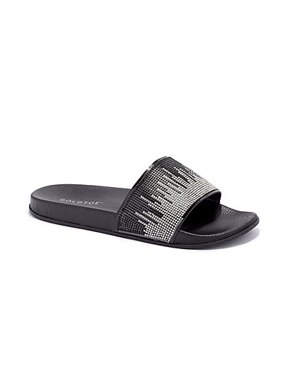 Plus Size Black Rhinestone Slide Sandals - Fashion To Figure