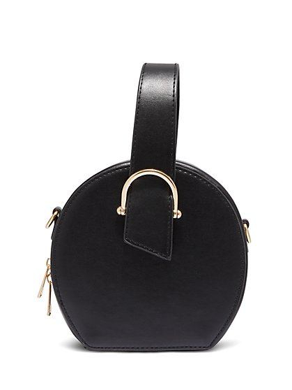 Plus Size Black Round Handbag With Handle - Fashion To Figure