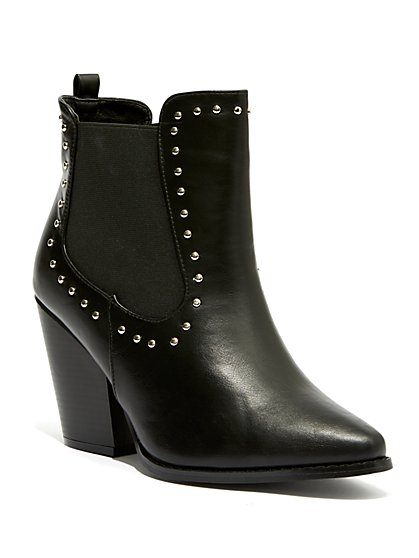 Plus Size Black Stud Detail Pointed Toe Booties - Wide Width - Fashion To Figure