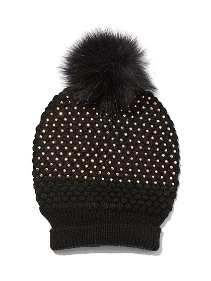 Plus Size Black Studded Beanie - Fashion To Figure