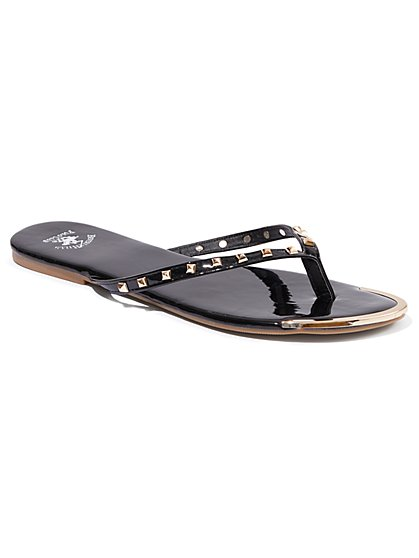 Plus Size Black Studded Black Flip-Flop Sandals - Wide Width - Fashion To Figure
