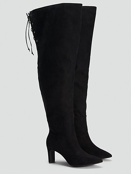 Plus Size Black Thigh High Boots - NADIA X FTF - Fashion To Figure