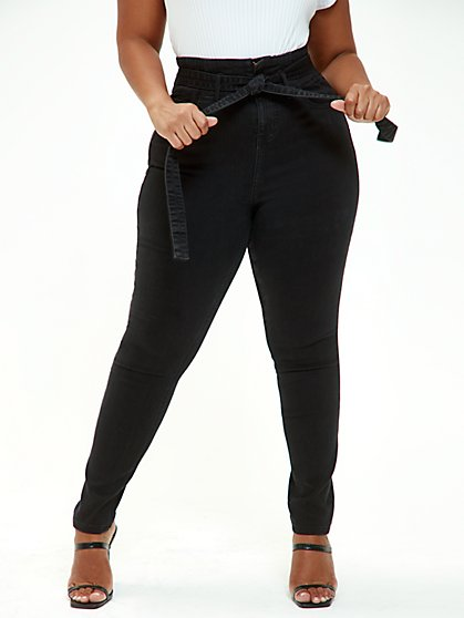 Plus Size Black Ultra High Rise Self Tie Skinny Jeans - Tall Inseam - Fashion To Figure