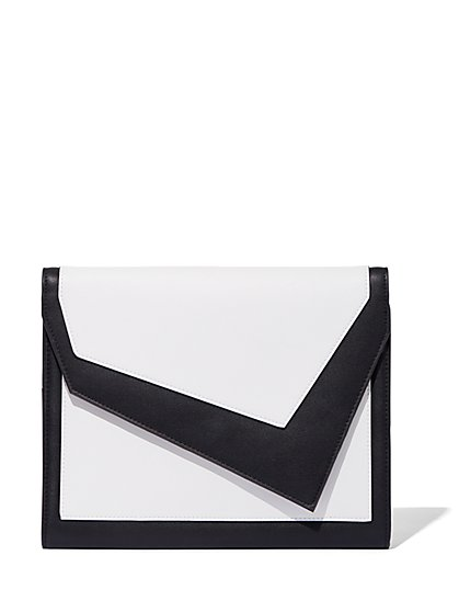 Plus Size Black & White Asymmetric Clutch - Fashion To Figure