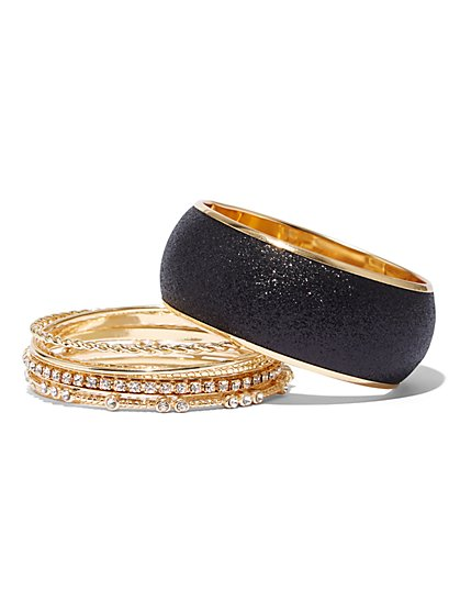 Plus Size Black and Gold-Tone Bangle Set - Fashion To Figure
