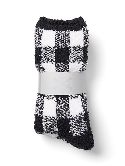 Plus Size Black and White Checkered Cozy Socks - Fashion To Figure