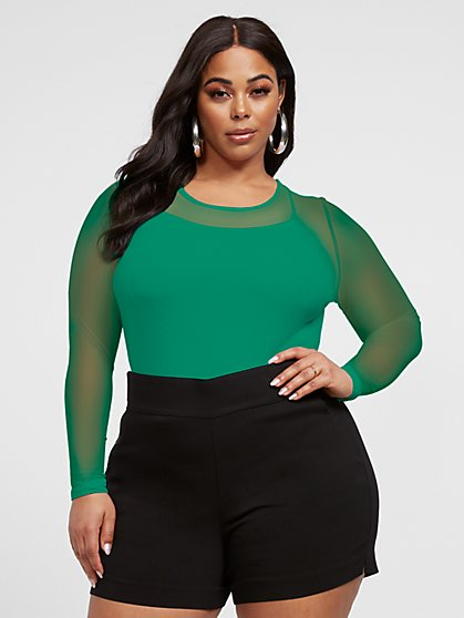 Plus Size Blair Crewneck Mesh Top - Fashion To Figure