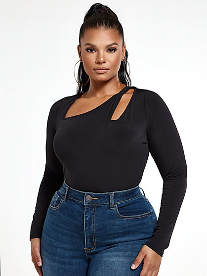 Plus Size Blaire Fitted Cut-Out Top - Fashion To Figure