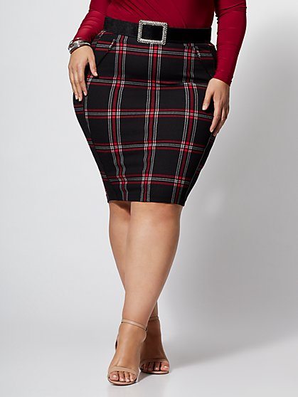 Plus Size Blaire Plaid Pencil Skirt - Fashion To Figure