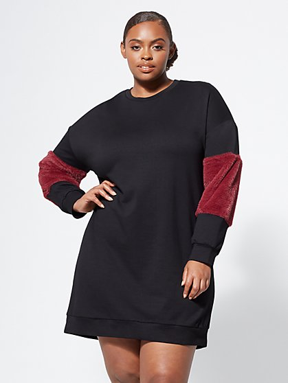Plus Size Blakely Faux-Fur Trim Dress - Fashion To Figure