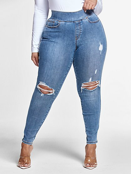 Plus Size Blowout Knee Jeggings in Medium Blue Wash - Tall Inseam - Fashion To Figure