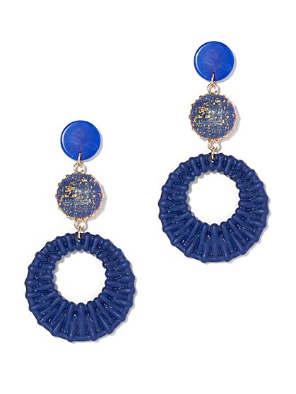 Plus Size Blue Drop Circle Earrings - Fashion To Figure