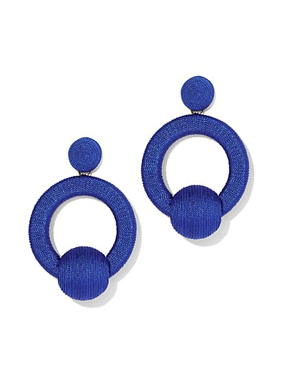 Plus Size Blue Wrapped Hoop Drop Earring - Fashion To Figure