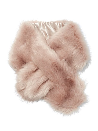 Plus Size Blush Faux-Fur Stole - Fashion To Figure