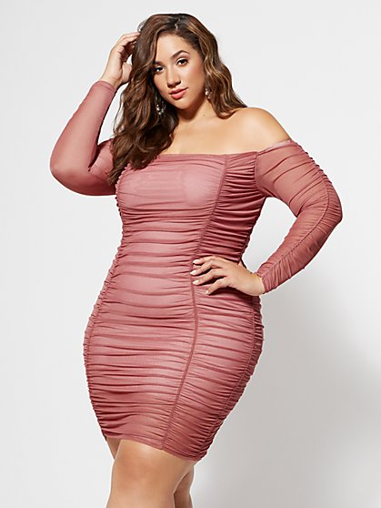 Plus Size Blush Mesh Bodycon Dress - Fashion To Figure