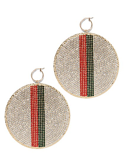 Plus Size Bold Rhinestone Circle Earring - Fashion To Figure