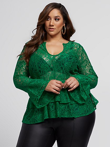 Plus Size Bonnie Lace Peplum Top - Fashion To Figure