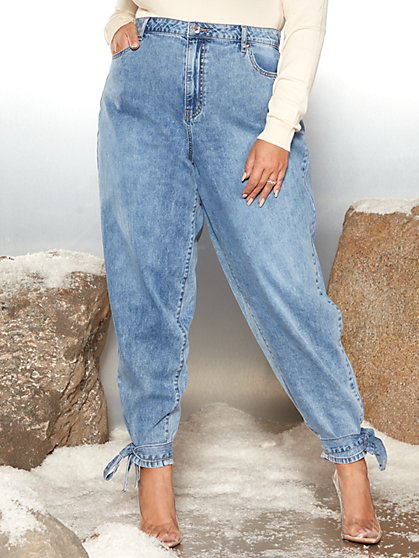 Plus Size Bonnie Tapered Boyfriend Jeans with Ankle Ties - Garnerstyle x FTF - Fashion To Figure