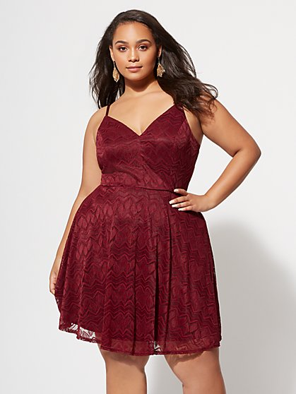 Plus Size Brandy Lace Flare Dress - Fashion To Figure