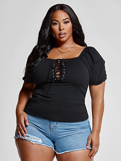 Plus Size Bree Lace-Up Top - Fashion To Figure