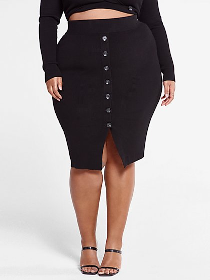 Plus Size Bree Ribbed-Knit Sweater Skirt - Fashion To Figure
