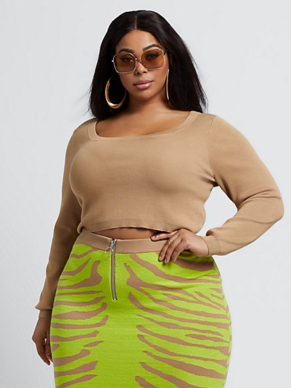 Plus Size Breena Nude Crop Sweater - Fashion To Figure