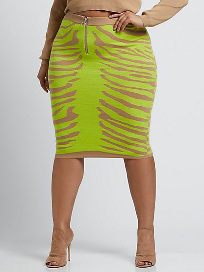 Plus Size Breena Zebra Sweater Pencil Skirt - Fashion To Figure
