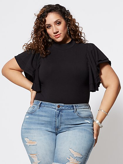 Plus Size Breonna Mockneck Flutter Sleeve Tee - Fashion To Figure