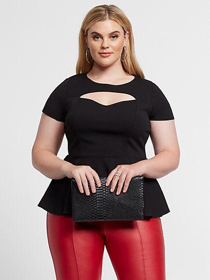 Plus Size Brettany Cut-Out Peplum Top - Fashion To Figure