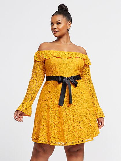 Plus Size Brianna Off Shoulder Lace Flare Dress - Fashion To Figure
