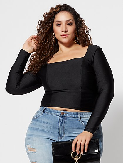 Plus Size Bridgette Swim Fabric Crop Top - Fashion To Figure