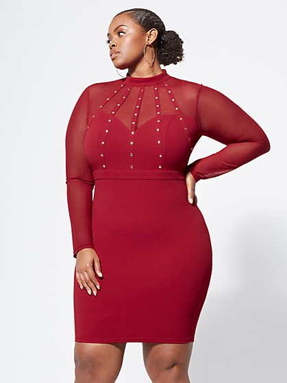 Plus Size Briella Cage-Detail Bodycon - Fashion To Figure