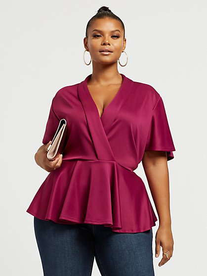 Plus Size Brielle Bat Wing Peplum Top - Fashion To Figure
