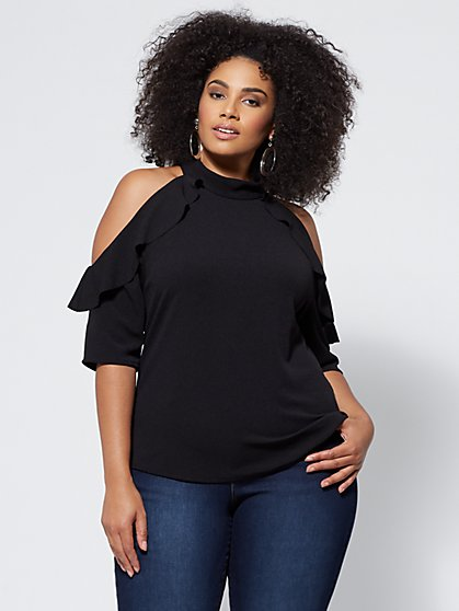 Plus Size Brielle Cold-Shoulder Blouse - Fashion To Figure