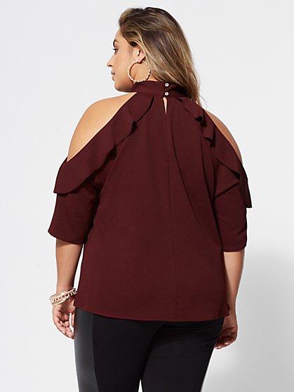 ... Plus Size Brielle Cold-Shoulder Blouse - Fashion To Figure ... 4944f5092