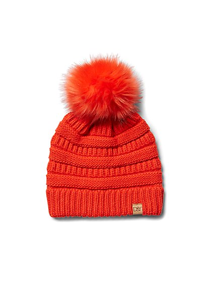 Plus Size Bright Orange Pom Pom Beanie - Fashion To Figure