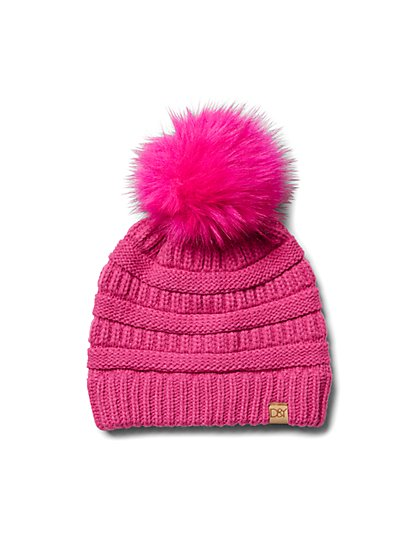 Plus Size Bright Pink Pom Pom Beanie - Fashion To Figure