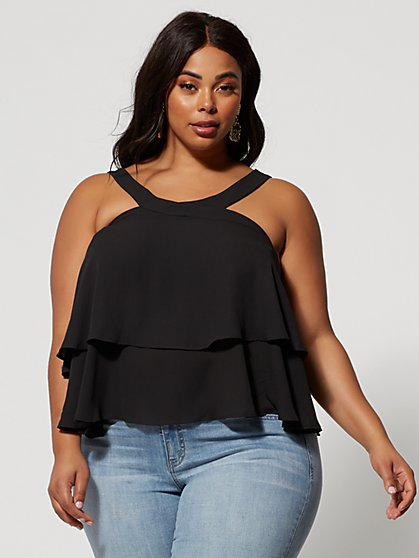 bce15384f7b Plus Size Britney Halter Flounce Top - Fashion To Figure