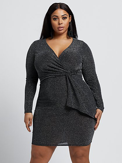 Plus Size Britney Metallic Bodycon Dress - Fashion To Figure