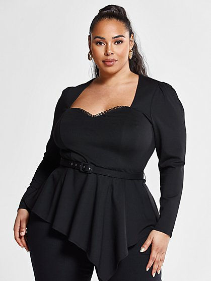Plus Size Brittany Asymmetrical Peplum Top with Belt - Fashion To Figure